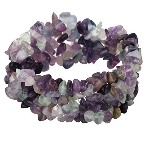 YACQ Fluorite Stretch Cuff Bracelet 5 Layer Braided Chunky Chakra Bracelet Gemstone Handmade Jewelry for Women Teen Girls 7.5