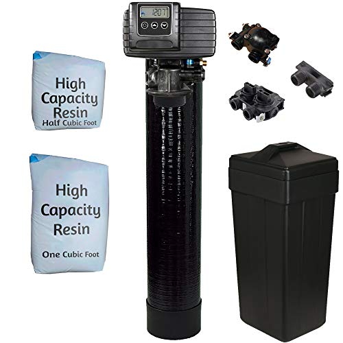 """Fleck 5600sxt Metered On-demand 48,000 Grain Water Softener with brine tank, bypass and 1"""" adapters"""