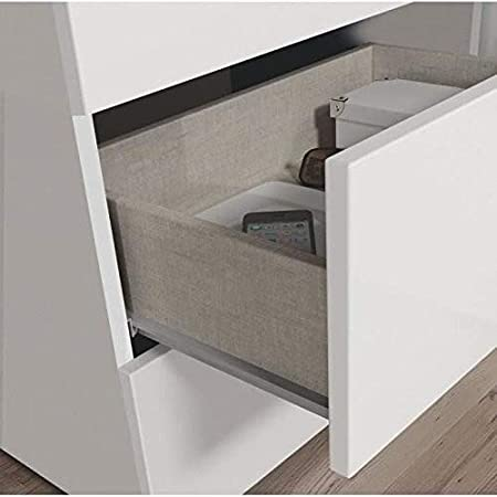 Habitdesign 007833BO Commode Style Nordique Finition Blanche Brillante 76 x 80 x 40/cm