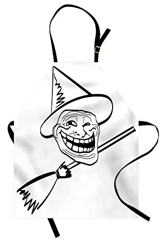 Ambesonne Humor Apron, Halloween Spirit Themed Witch Guy Meme LOL Joy Spooky Avatar Image Print, Unisex Kitchen Bib Apron with Adjustable Neck for Cooking Baking Gardening, Black and White