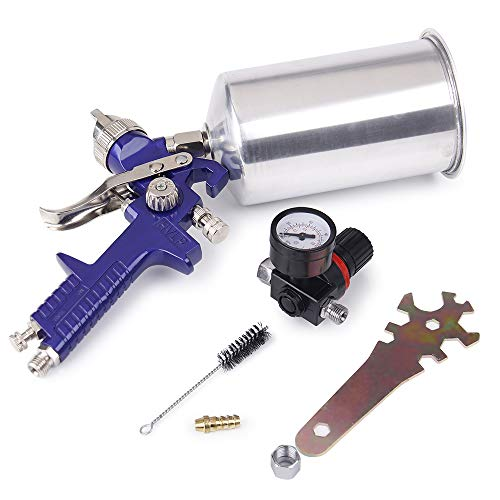 Big Autoparts Spray Paint Gun with Cups 1.4mm HVLP Spray Gun Air Regulator Maintenance Kit for All Auto Paint Primer Topcoat Touch-Up,1 Year Warranty