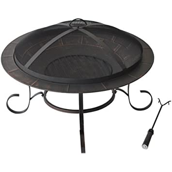 "Andover 30"" Round Steel Outdoor Wood Burning Fire Pit On Sale, Bronze"