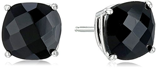 Sterling Silver Cushion-Cut Checkerboard Onyx Stud Earrings (8mm)