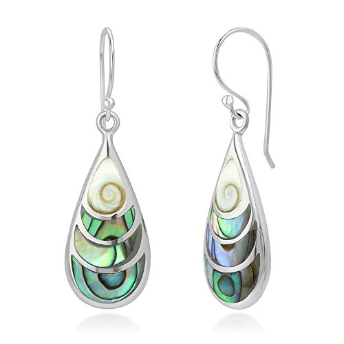 925 Sterling Silver Shiva Eye and Green Abalone Shell Inlay Teardrop Dangle Hook Earrings (Shell Inlay Earrings)