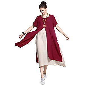 6506691762 Anysize Fake-Two-Piece Soft Linen Cotton Dress Spring Summer Plus Size  Clothing Y110