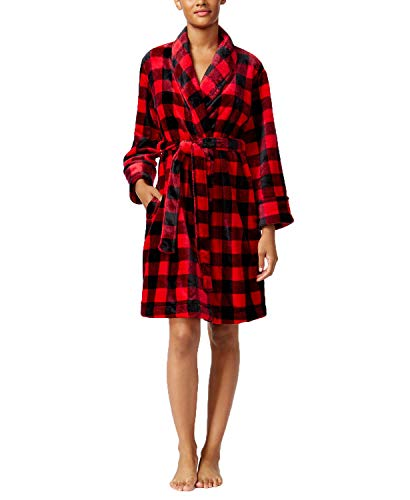 Charter Club Womens Super Soft Plaid Wrap Bath Robe (Large, Red Buffalo Check)