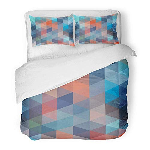 Tessellated Patterns - 3 Piece Duvet Cover Set Brushed Microfiber Fabric Colorful Abstract Tessellation Pattern Vibrant Polygon with Tessellated Color Breathable Bedding Set with 2 Pillow Covers King Size