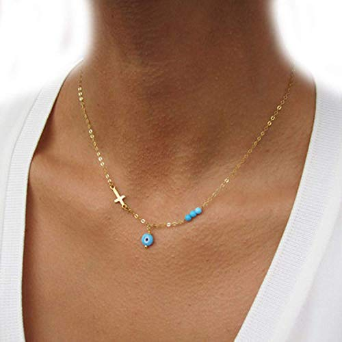 (Cheap Evil Eye Cross Pendant Necklace Turquoise Bead Gold Plated Choker Jewelry Gift,SilverPlated)