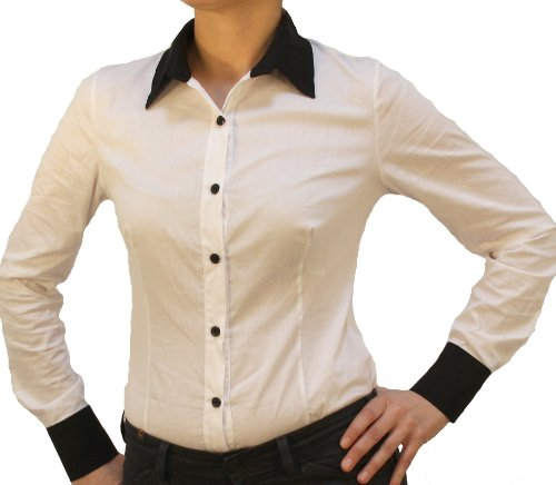 Mujer Camisas negro Manga Para Perano Larga Blanco xO4I1awqw