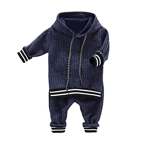 WEXCV Baby pasgeboren babykleding meisjes jongens gebreide strepen met capuchon lange mouwen hoodie tops en broeken…