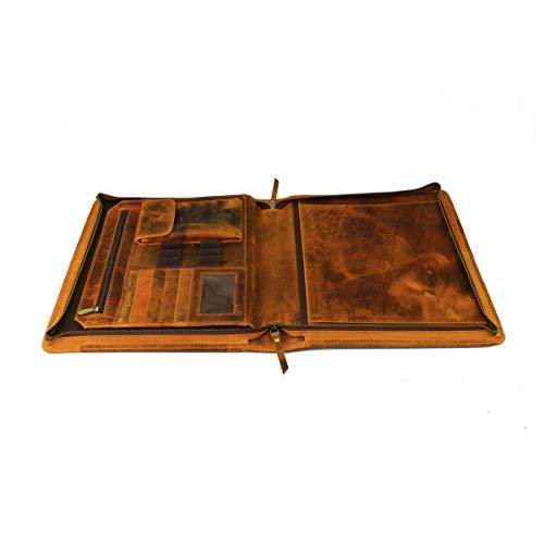 (Leather Castle Vintage Zippered Business Organizer Book Style File Folder Case for A4 Document Holder, Notepad, Portfolio, Pens)