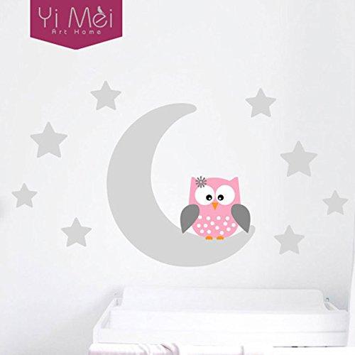 Luna Estrellas Owl buena guardería nocturna Wallpaper Tatuajes de ...
