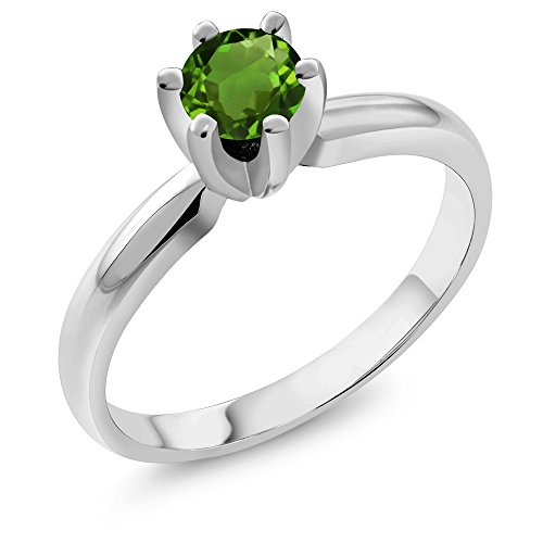 0.50 Ct Round Green Chrome Diopside 925 Sterling Silver Ring (Diopside Green Ring)