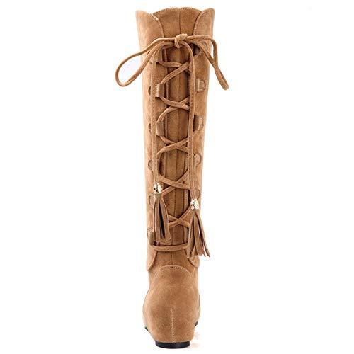 Moda Moda Moda Donna Zeppa Scarpe Lunghi Stivali Giallo Invernali RAZAMAZA zqw51W
