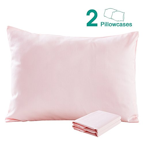 Pink Pillowcase (100% Cotton Sateen Toddler Pillowcases Set of 2, Soft and Cozy, 13