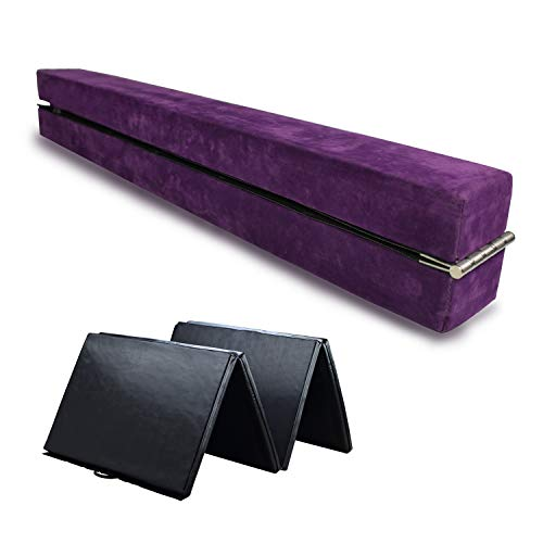 HYD-PARTS Gymnastic Balance Beam Practice Mats for Kids (Purple Beam+4 by 10 Black mat, 8') by HYD-PARTS (Image #1)