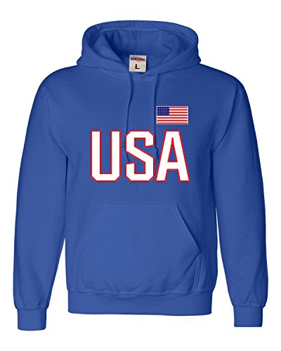 Small Royal Blue Adult USA National Pride Sweatshirt Hoodie