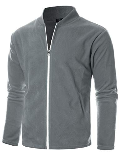 - GIVON Mens Slim Fit Long Sleeve Lightweight Polar Fleece Zip-up Cardigan with Kanga Pocket/DCF139-GREY-XL