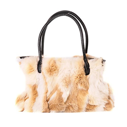 URSFUR Winter Shoulder Bag Women Real Rabbit Fur Handbag Wristlet Clutch Purse ()
