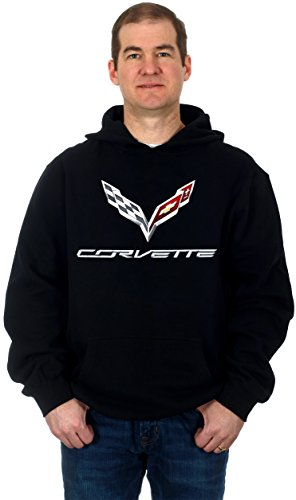 Chevrolet Corvette C7 Emblem Mens Pullover Fleece Hoodie (2X) - Stingray Socks