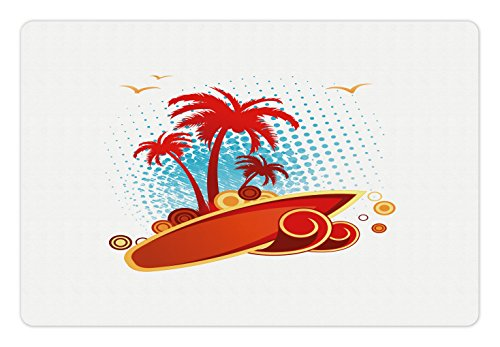 Gull Circle - Ambesonne Beach Pet Mat for Food and Water, Exotic Halftone Background with Circles with Palms Seagulls Tropics, Rectangle Non-Slip Rubber Mat for Dogs and Cats, Vermilion Pale Blue Yellow