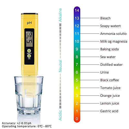 Lorima CS-SZY1001 Digital PH Meter, PH Meter 0.01 PH High Accuracy Water Quality Tester with ATC, with 0-14 PH Measurement Range(Yellow): Amazon.com: ...