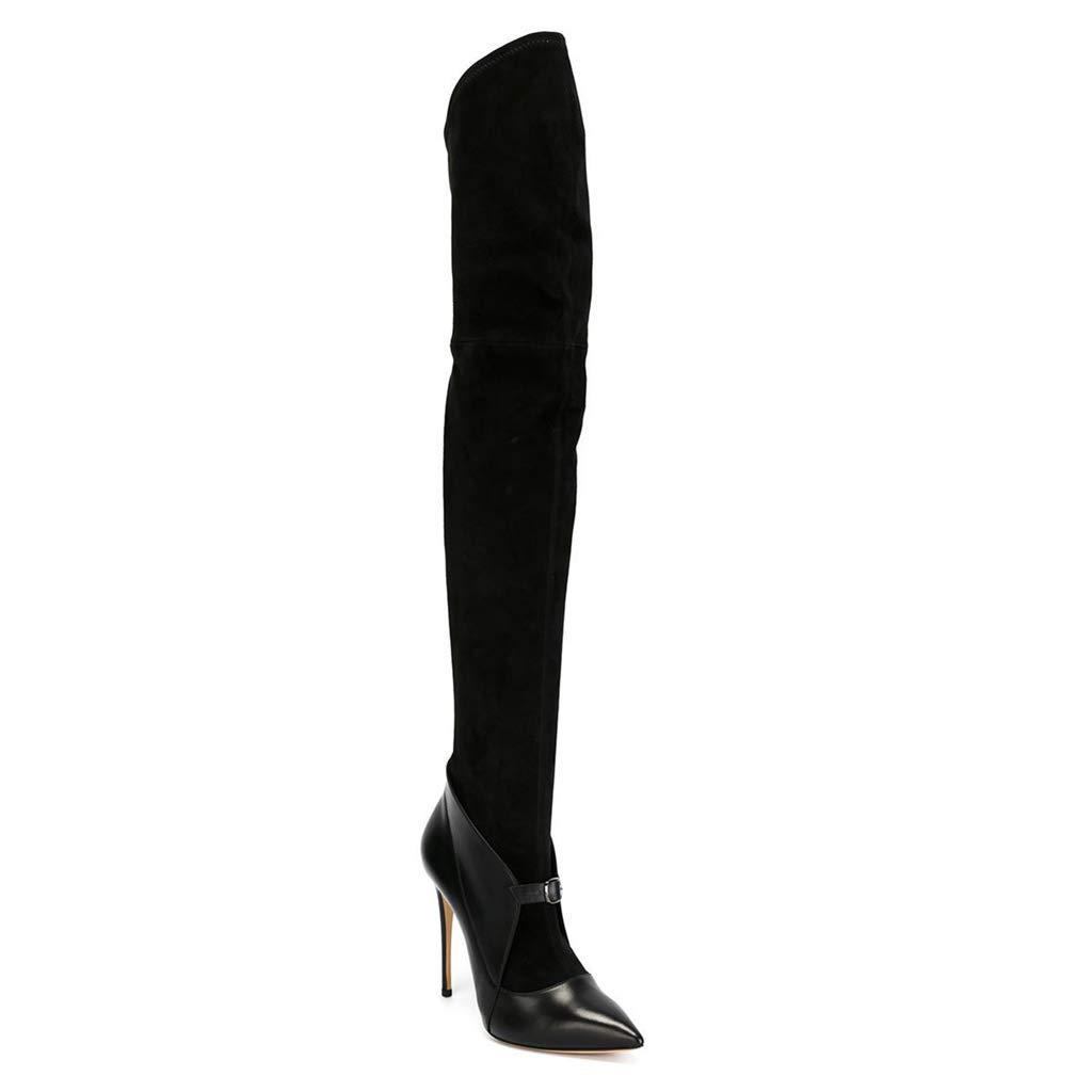 TYX-LJJ Lange Stiefel Frauen, Spitzen Lederstickerei Stiletto Mode Stiefel
