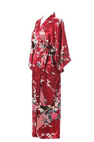 Kimono Printed Silk J with Lotus Long Robe Women's Kimono Pockets Robe ROBE Burgundy xSqwXHUq0