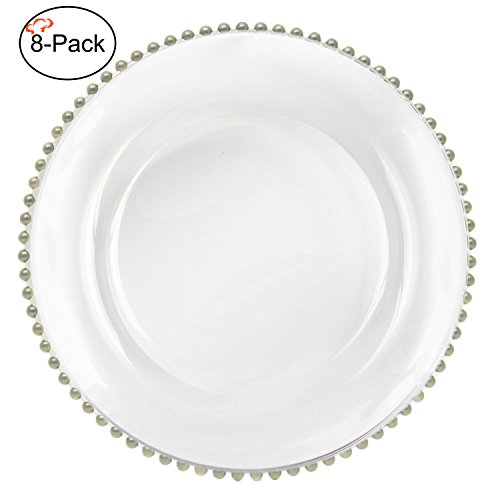 Beaded Dinner - Tiger Chef 13-inch Clear Round Beaded Glass Charger Plates Set of 2,4,6, 12 or 24 Dinner Chargers 8 Pack (8, Silver)