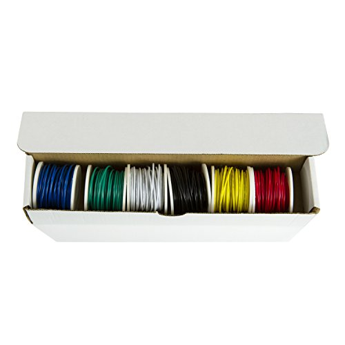 Houseables Electrical Wire Kit, Solid Hook Up Electric Wiring, 6 x 22 Gauge Spools (27.5 Feet Each), Red, Black, Green, Yellow, White & Blue AWG Assortment, Electronic Hookup Core Wires, Thin Coated by Houseables