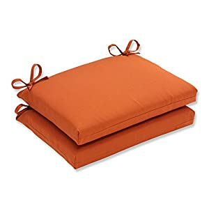 Pillow perfect indoor outdoor cinnabar squared seat cushion burnt orange set of 2 - Orange kitchen chair cushions ...