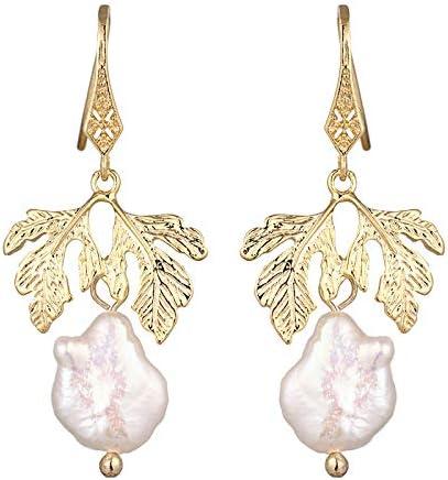 Clásico diseño Simple Hoja Planta barroca Colgante Pendientes para Las Mujeres Perlas Naturales Elegante joyería Regalo Fiesta Boda