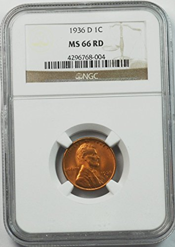 1936 D Lincoln Wheat Cent Brilliant Uncirculated Penny MS66 NGC Rd