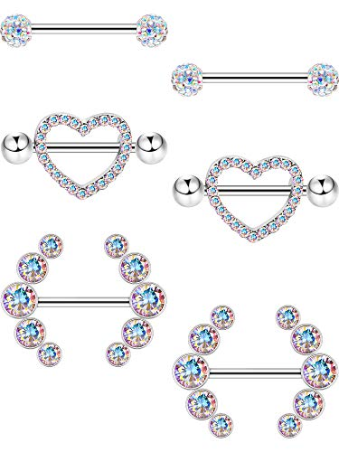 Jovitec 6 Pieces 14 G Nipple Rings Barbell Heart Curved Shape Rings Stainless Steel Tongue Nipple Rings for Jewelry Body Piercing (AB Color)