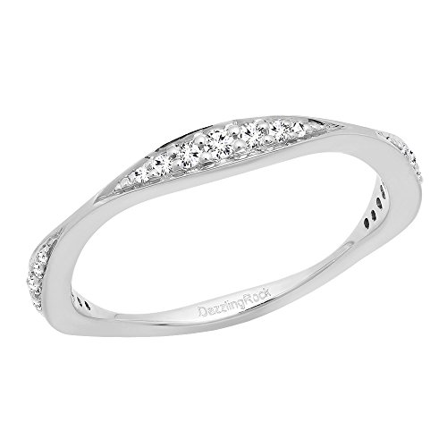 0.20 Carat (ctw) 14K White Gold Round Diamond Ladies Anniversary Wedding Band 1/5 CT (Size 8) by DazzlingRock Collection