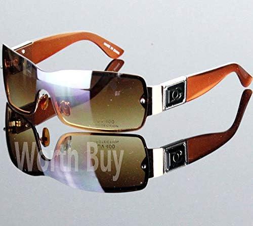 DG Eyewear Womens Shield Metal Frame Designer Sunglasses Shades Retro Brown
