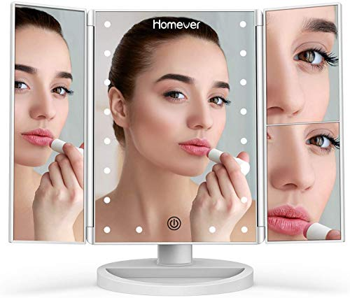 Lighted Makeup Mirror, Homever 3X 2X 1X Magnifying Mirror 21 LED Lighted Tri-Fold Makeup Mirror with Touch Screen and 180° Adjustable Stand, Dual Power Mode Beauty Mirror (White)