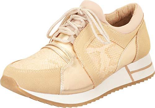 Cambridge Select Women's Retro 90s Ugly Dad Lace-Up Chunky Platform Fashion Sneaker,6 B(M) US,Light Gold Snake