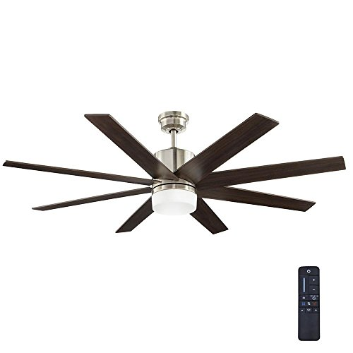 Home Decorators Collection 60 in. Zolman Pike LED DC Brushed Nickel Ceiling Fan with Remote For Sale