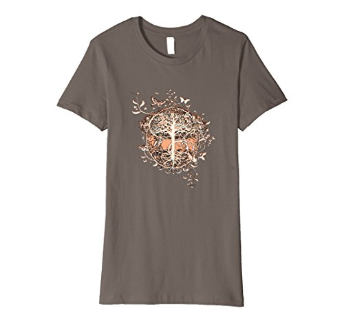 Womens Tree of Life with Butterflies T Shirt by Amelia Carrie XL Asphalt