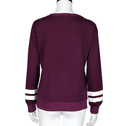 Vovotrade - Las mujeres de manga larga con capucha Sudaderas Tops camisas de la blusa Vino
