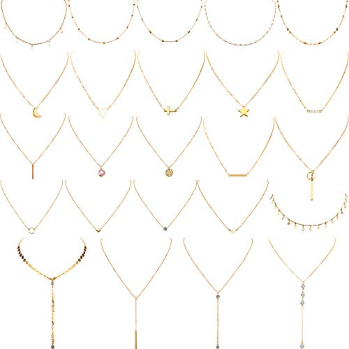 Yaomiao 24 Pieces Layered Necklace Mutilayer Choker Necklace Tiered Chokers Necklace Charm Pendant Necklace for Women Girls (Gold)