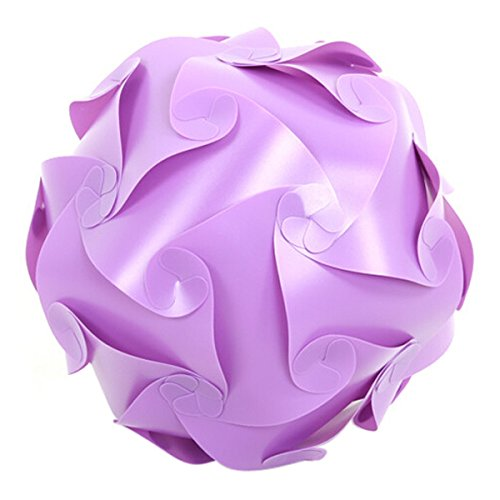 SODIAL(R) DIY Modern Pendant Ball novel IQ lamp Jigsaw puzzle pendants colorful pendant lights LED DIY adjustable chandelier ceiling lamp£¨25cm Purple£
