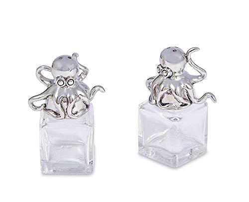 (Mud Pie Octopus Glass Salt & Pepper Set (Size: 2 1/2