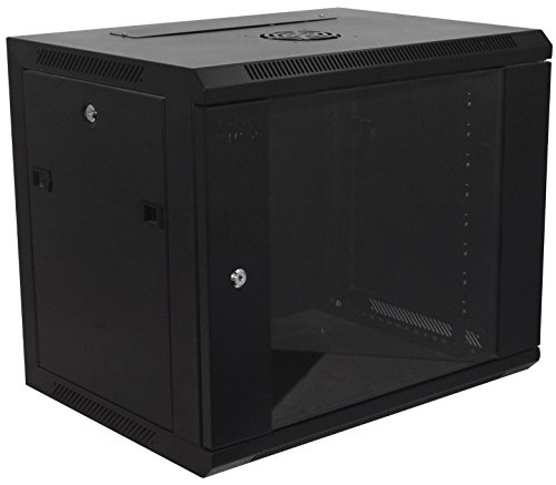 9U-High 18''-Deep 19''-Wide Wallmount Cabinet Enclosure Network Rack Locking Glass Door 19' Rackmount Panel