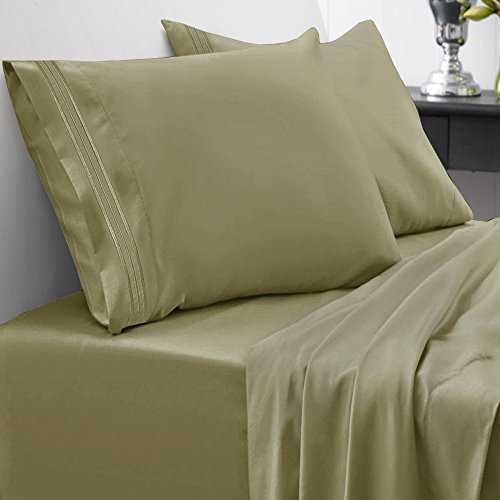 Sweet Home Collection 1800 Thread Count Egyptian Quality Brushed Microfiber 4 Piece Deep Pocket Bed Sheet Set - All Sizes, 12 Colors - Queen, Olive