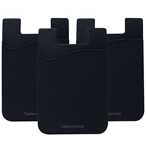 Cellessentials Card Holder for Back of Phone - Silicone Stick on Cell Phone Wallet with Pocket for Credit Card, ID, Business Card - iPhone, Android and Most Smartphones - 3 Pack(Black)