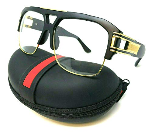 Gazelle B-Boy Square Metal & Plastic Retro Aviator Sunglasses (Matte Black & Gold Frame w/Case, Clear) ()