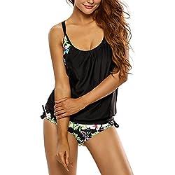 EVALESS Women Shoulder Straps Outfit Boyleg Sports Tankini Sets Two Piece Swimsuit Large Size Black&Flower