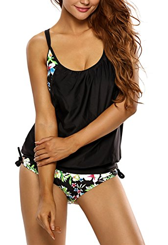 EVALESS Women Shoulder Straps Outfit Boyleg Sports Tankini Sets Two Piece Swimsuit XXX-Large Size Black&Flower